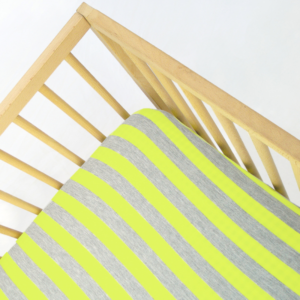 Lemon Stripes Jersey Knit Fitted Crib Sheet