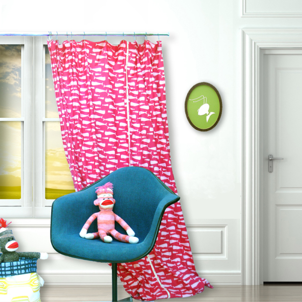 Pinky Whales Window Curtain
