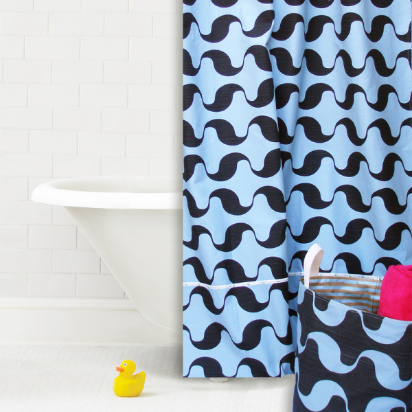 Wavy Surf Cotton Shower Curtain Panel