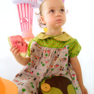 Bubby Elephant Bear Trains Smock Dress
