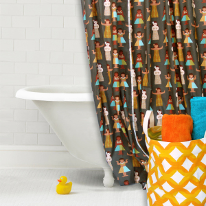 Hula Hula Cotton Shower Curtain Panel