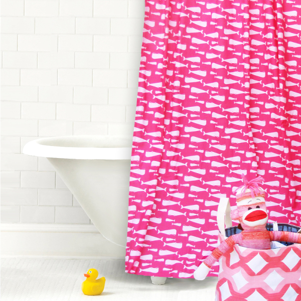 Pinky Whales Cotton Shower Curtain Panel